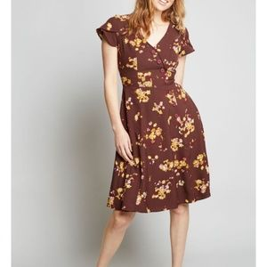 Size L Modcloth maroon and yellow floral dress